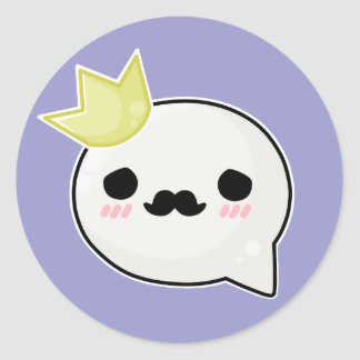 Sad king face round sticker