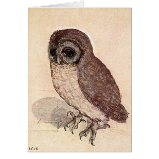 Sad Little Owl Beige Detailed Card