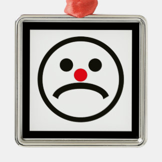 Sad Looking Face with Cheeky Red Nose Metal Ornament