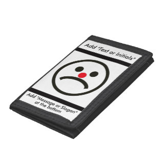 Sad Looking Face with Cheeky Red Nose Tri-fold Wallets