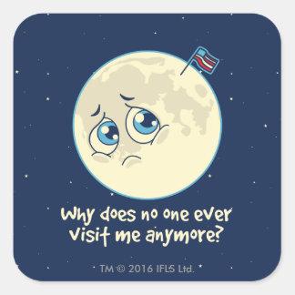 Sad Moon Square Sticker