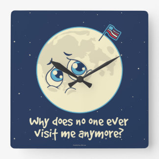 Sad Moon Square Wall Clock