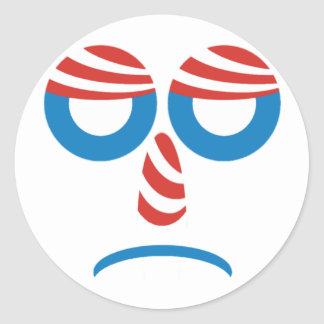 Sad Obama Face Round Stickers