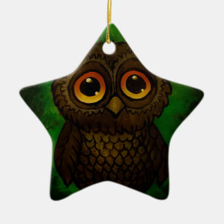Sad owl eyes ceramic ornament