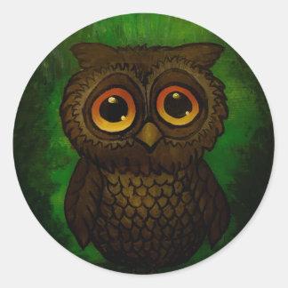 Sad owl eyes classic round sticker