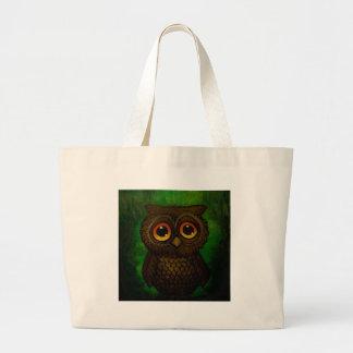 Sad owl eyes large tote bag