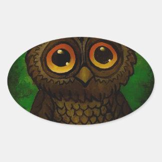 Sad owl eyes oval sticker