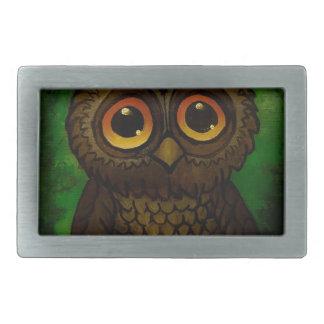 Sad owl eyes rectangular belt buckle