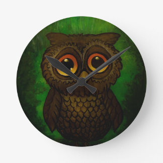Sad owl eyes round clock