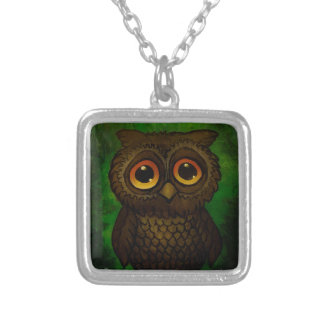 Sad owl eyes silver plated necklace