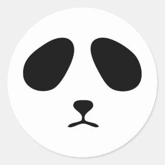 Sad panda face round sticker