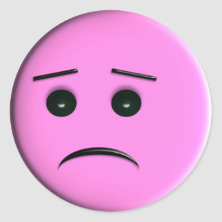 Sad Pink Smiley Face Classic Round Sticker