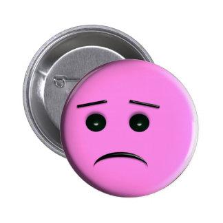Sad Pink Smiley Face Pin / Button