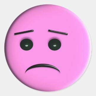 Sad Pink Smiley Face Round Sticker
