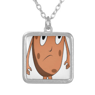 Sad potato silver plated necklace