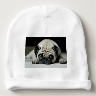Sad pug - dog lying down - dog look - cute puppies baby beanie