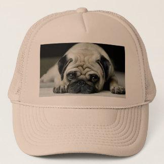 Sad pug - dog lying down - dog look - cute puppies trucker hat
