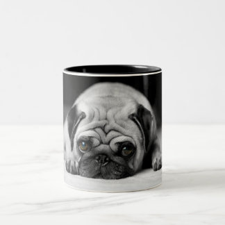 Sad Pug Two-Tone Coffee Mug