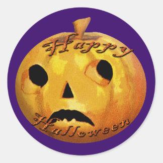 Sad Pumpkin Face for Halloween Fun Stickers