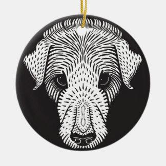 sad puppy ceramic ornament