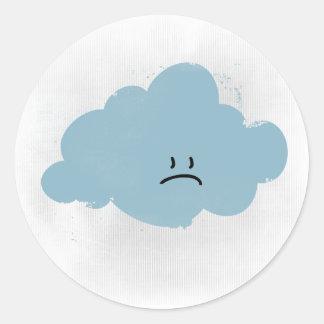 Sad Rain Cloud Round Sticker