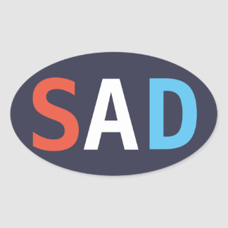"SAD ""red white and the blues"" oval sticker"