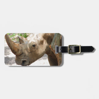 Sad Rhinoceros Face Luggage Tag