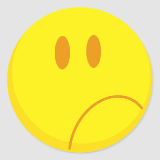 sad silly frowning sad smiley face sticker