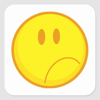 sad silly frowning sad smiley face square stickers
