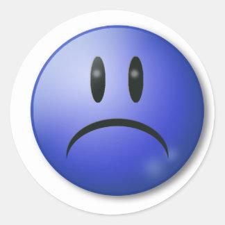 Sad smile Face Round Sticker