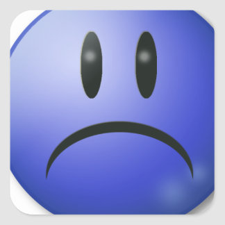 Sad smile Face Square Sticker