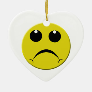 sad smiley face ceramic heart decoration