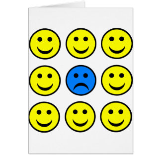 Sad Smiley Face in a Crowd of Happy Smilies Card