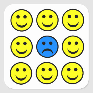 Sad Smiley Face in a Crowd of Happy Smilies Square Sticker