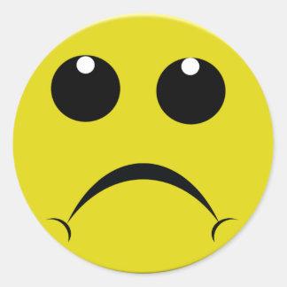 sad smiley face round sticker