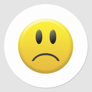 Sad Smiley Face Round Stickers
