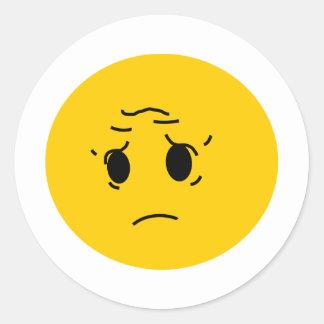 sad smiley round sticker