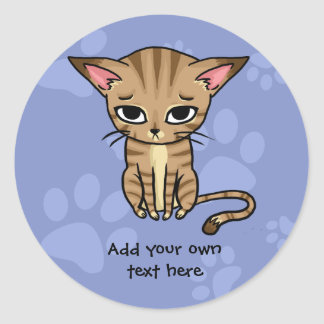 Sad Tabby cat Kitten Classic Round Sticker