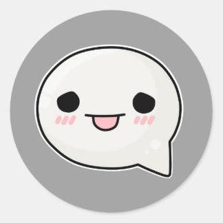 sad tongue face round sticker