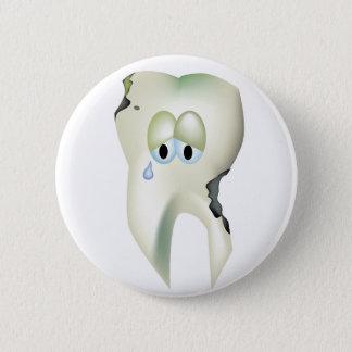 Sad Tooth Cavity Cartoon Funny Dentist 6 Cm Round Badge