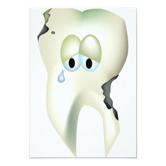 Sad Tooth Cavity Cartoon Funny Dentist Card