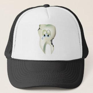 Sad Tooth Cavity Cartoon Funny Dentist Trucker Hat