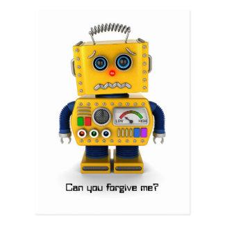 Sad toy robot postcard