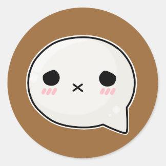 Sad x face round sticker