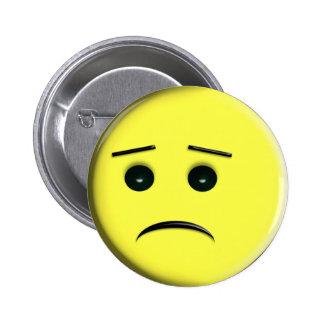 Sad Yellow Smiley Face Pin / Button