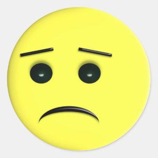 Sad Yellow Smiley Face Sicker Round Sticker