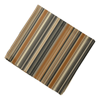 Saddle Brown and Black Striped Pattern Bandana