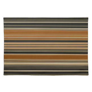 Saddle Brown and Black Striped Pattern Placemat
