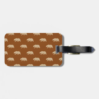 Saddle Brown and Tan Grizzly Bear Pattern Luggage Tag
