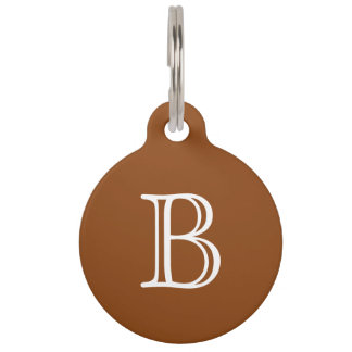 Saddle Brown White Monogram Initial Name Simple Pet Name Tag